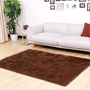 CNFQ Shaggy alfombras de Pelo Largo alfombras Salon alfombras de habitacion moquetas Sala de Estar (marrón, 120 x 80 cm): Amazon.es: Hogar