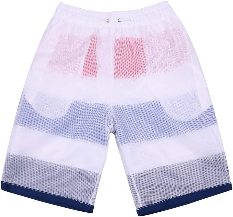 RCFRGV Beach Shorts Men Striped Casual Straps Beach Shorts Loose Quick-Drying Sweatpants Running Surfing Shorts XXXL