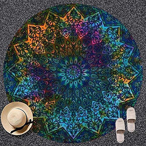 ROYALA Tapiz Redondo para Playa, Color Azul, diseño de Estrella, Hippie, Bohemio, Mandala, Manta de algodón Indio, para decoración de Mesa, Esterilla de Yoga, meditación, pícnic, Multicolor