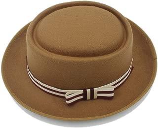 Women's Flat Homburg Fedpra Hat Winter Autumn Elegant Hat Wool Boater Hat with Punk Belt Tocados Invitada Boda (Color : Tan, Size : 56-58CM)
