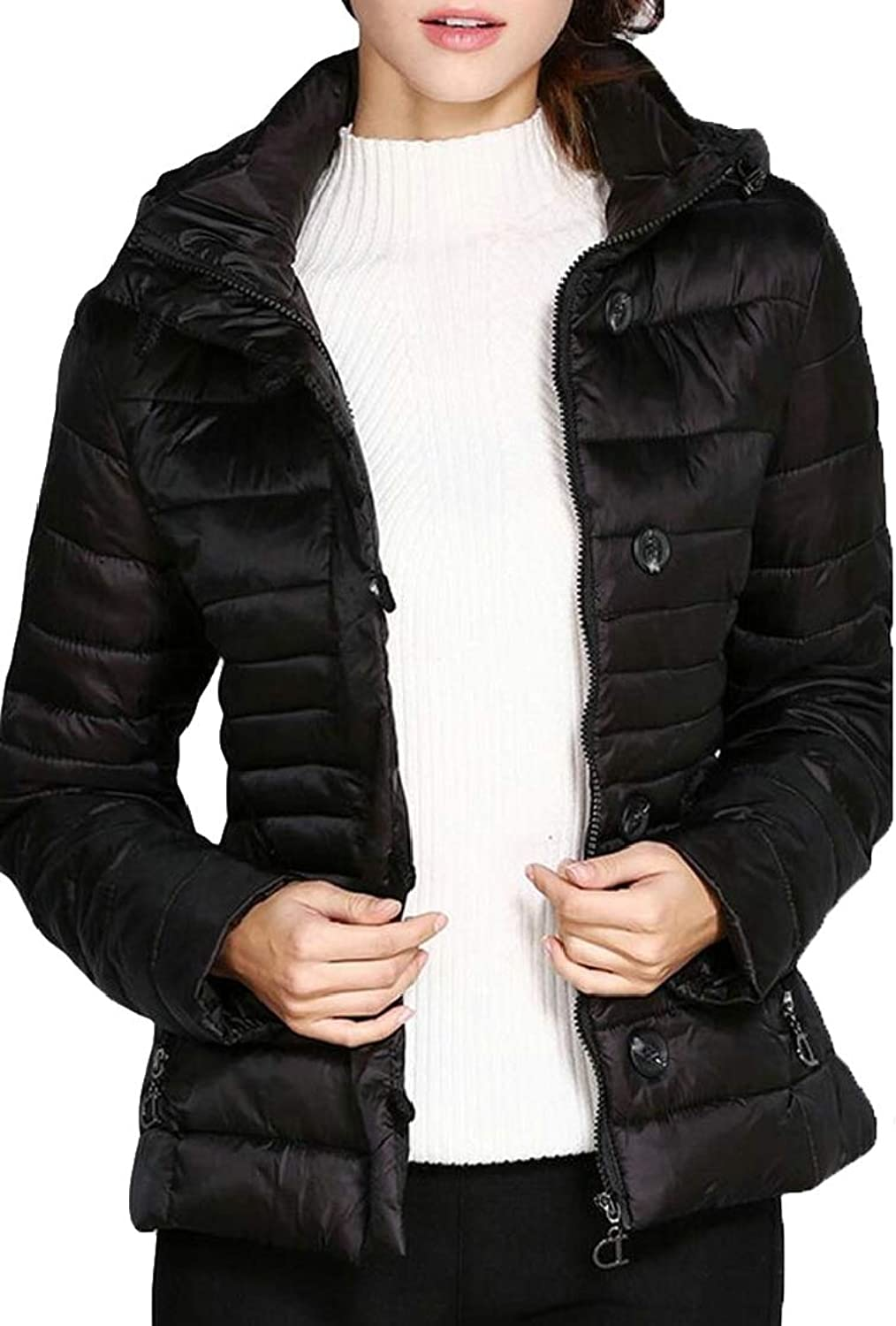 Esast Women Winter Warm Zipper Hooded Down Jacket Quilted Padded Short Coats