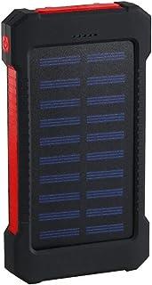Huante Vattentät solcellsbank 30 000 mah, 2 USB-portar extern laddare, med ficklampa och kompass, lämplig för smarttelefon...