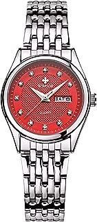 Women Fashion Watch Casual Business Quartz Watch Stainless Steel Waterproof Date and Week Dress Watches