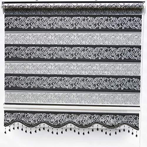 Brillant Gardinen Doppelrollo Klemmfix ohne Bohren Schwarz Silber Muster Fenster Tür Rollos 80 x 200 cm