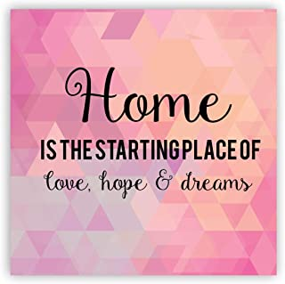TheYaYaCafe Acrylic Home is Starting Place Printed Square Fridge Magnet (Pink)