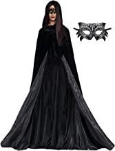 JSICILY Halloween Witch Cape Black Medieval Hooded Cloak Costumes for Adult Cosplay