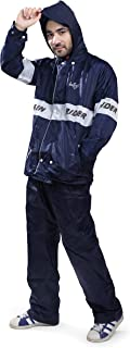 Bulfyss Double Layered Polyester Rain Coat Suit for Men 100% Waterproof for Bike Reversible Lightweight Raincoat with Adju...