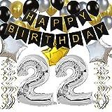"""KUNGYO Clásico Decoración de Cumpleaños -""""Happy Birthday"""" Bandera Negro;Número 22 Globo;Balloon de Látex&Estrella, Colgando Remolinos Partido para el Cumpleaños de 22 Años"""