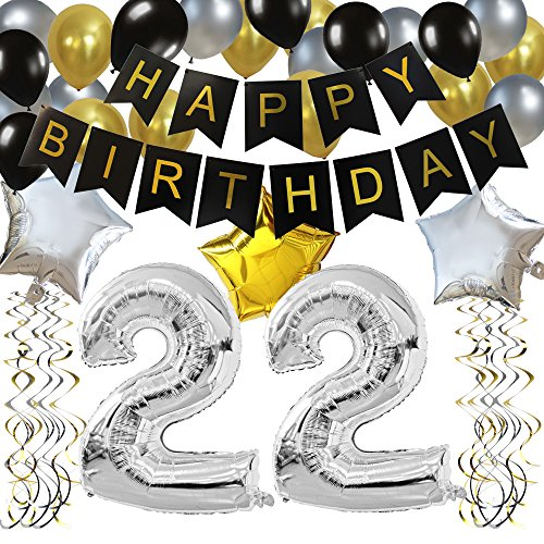 KUNGYO Classy 22ND Birthday Party Decorations Kit-Black Happy Brithday Banner,Silver 22 Mylar Foil Balloon, Star, Latex Balloon,Hanging Swirls, Perfect 22 Years Old Party Supplies