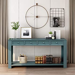 Romatlink Classic Buffet Table Series Side Cabinet,Sideboard with 4 Storage Drawers, Hall Entry Table Console Sofa Table for Living Room- Blue