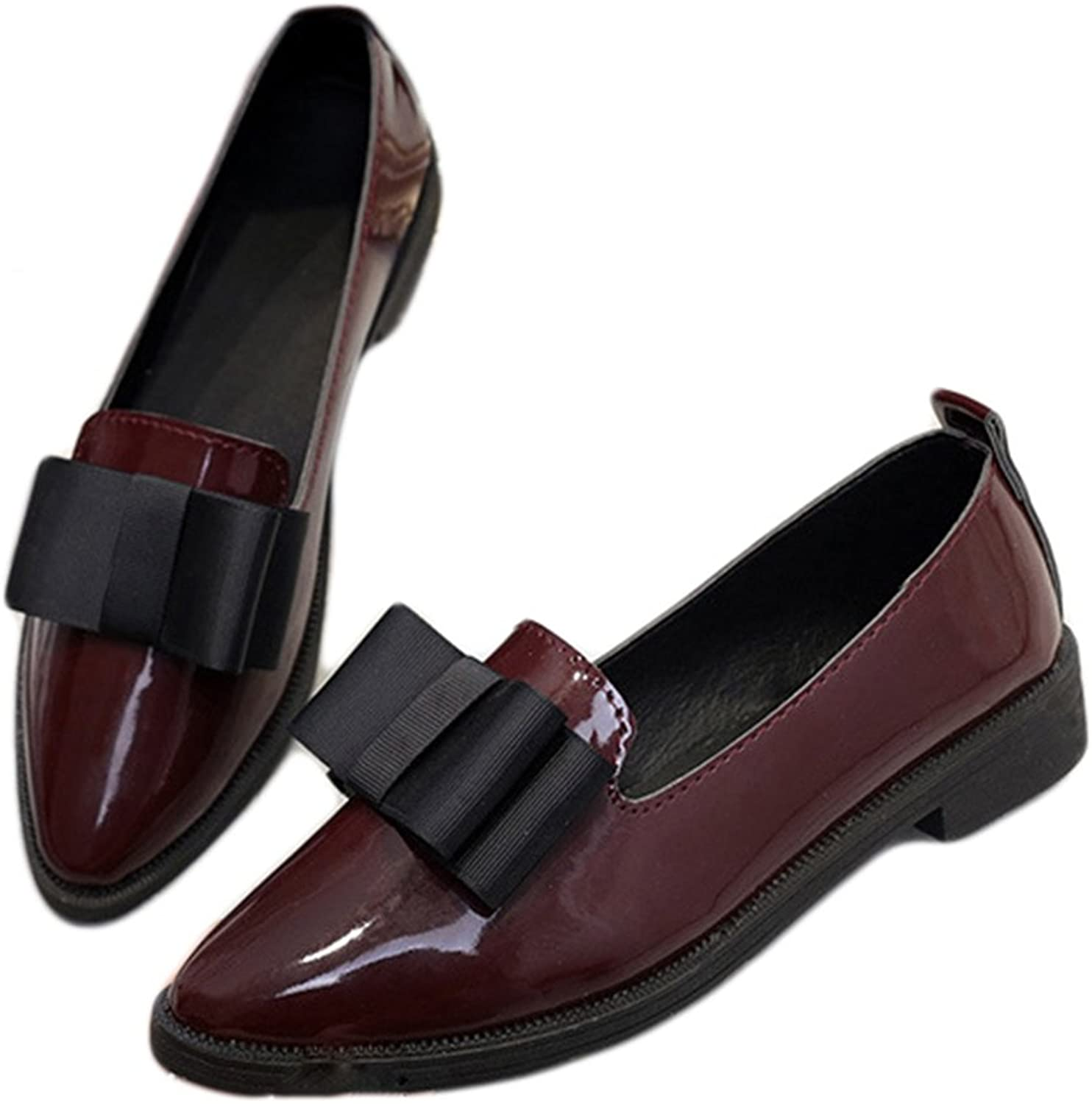 Btrada Women's Casual Bowknot Flat Point Toe Work Oxfords Loafers shoes