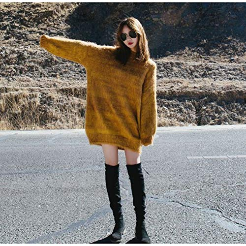BAOWANG Pullover Sweter Mujer Mohair Sweater Gelb Mittellang Volle Hülse Oansatz Befree Winter Top Fashion Cloth