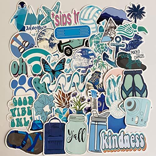DSSJ 50 pequeñas Pegatinas Azules Frescas para Equipaje, Maleta, Ordenador, Nevera, Guitarra, monopatín, Pegatinas Impermeables