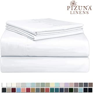 400-Thread-Count Queen Cotton-Sheets Set White, 100% Long Staple Cotton Queen Size Sheets Set, Soft Sateen Cotton Queen Size Bed-Sheet Set Deep Pocket fit Upto 15 inch (Cotton White Sheets Bed-Set)