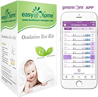 Easy@Home Ovulation Test Kit, 15 Ovulation and 5 Pregnancy Combo Test Kit, Powered by Premom Ovulation Predictor iOS and Android APP, 15 LH + 5 HCG