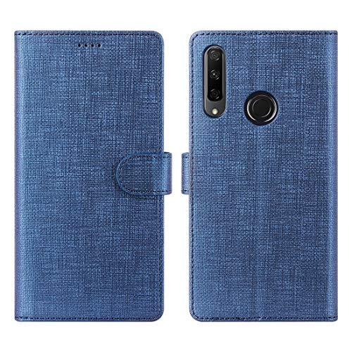 Preisvergleich Produktbild CRESEE Honor 9X Hülle,  PU Leder Schutzhülle mit 3 Kartenfächer,  Case Tasche Magnetverschluss Flip Cover Standfunktion Stoßfest Brieftasche Handyhülle für Huawei Honor 9X (Blau)