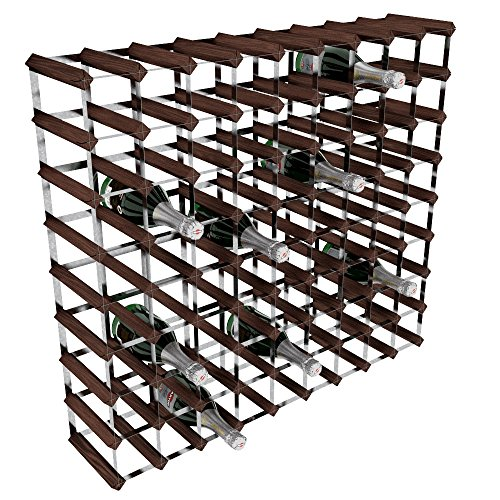 RTA - Porta-bottiglie di vino, 80 posizioni, in acciaio galvanizzato/mogano, marrone, legno;pietra