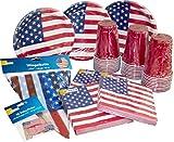 """30 beschichtete Pappteller mit USA-Motiv 30 rote Partybecher """"Red Cup"""" 0, 473l (entspricht 16oz) 60 Servietten mit USA-Motiv (3-lagig, 33x33cm) 50 Deko-Picker mit USA-Fähnchen (ca. 6, 5cm hoch) / ideal für Fingerfood und Snacks 10m lange Wimpelkette ..."""