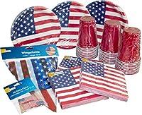 Composé de: 30assiettes en carton enrobés, 30gobelets, 60serviettes Lot de 50de pickern et une guirlande de fanions Parfait pour vos soirées Motif: Stars & Stripes