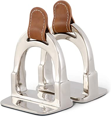 K&K Interiors 17046A Set of 2 Stirrup Leather Strap Bookends, Silver and Brown