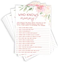 Printed Party Who Knows Mommy Shower Game, Set of 50 Cards, Floral Baby Shower Game and Activity, Fun, Unique, and Easy to Play