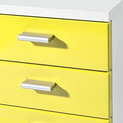 Germania Conteneur á roulettes 4099-143 avec 5 tiroirs, coloris Blanc/Jaune, l/h/p env. 28/57/40 cm