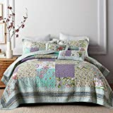 NEWLAKE Bedspread Quilt Set with Real Stitched Embroidery, Classic Floral Pattern,King Size
