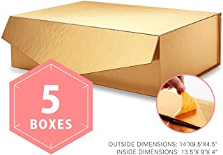 PACKHOME Large Gift Boxes Rectangular 14x9.5x4.5 Inches, Bridesmaid Proposal Boxes, Sturdy Storage Boxes, Collapsible Gift Boxes with Magnetic Closure (Glossy Gold, 5 Boxes)