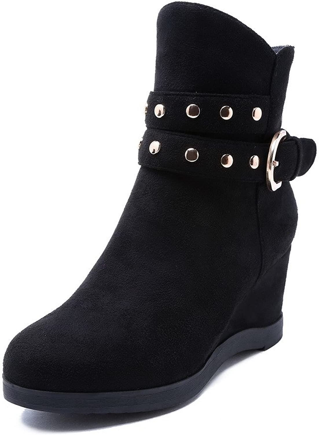 WeenFashion Women's Imitated Suede Kitten-Heels Round-Toe Boots with Rivet and Metal Buckles