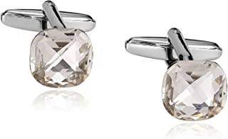 Mens Round Crystal Cufflinks, Business Wedding Cuff Links for Men Tuxedo with Gift Box