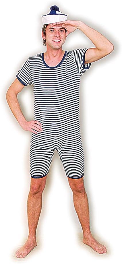 Blu-Bianco in Taglia S // Costume da Bagno a Strisce per Uomini Amakando Costume da Bagno Maschile in Stile Anni /´20 Un richiamo d/´attenzione per Feste di Carnevale IT 46//48