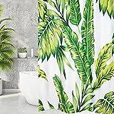 Badezimmervorhang,duschvorhang180*200,shower curtain,Duschvorhang grüne Blätter Blumen Pflanzen Badezimmer Textil Waschbar Badvorhänge aus Polyester, Wasserdicht Anti-Schimmel,Duschvorhangringe Design