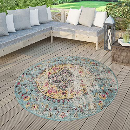 TT Home Moderner Outdoor Teppich Wetterfest für Innen & Außenbereich Boho Style In Multifarben, Größe:Ø 200 cm Rund