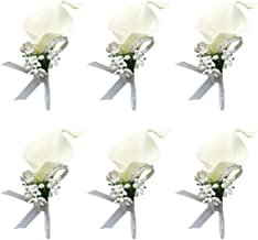 ChezMax Calla Lily White Boutonniere Handmade Silk Flower with Ribbon Corsage for Bride Groom Wedding Party