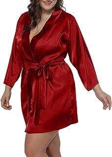 79d7a44c Allegrace Women Plus Size Satin Wrap Front Kimono Robes Short Pajamas with  Belt