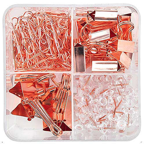 Binder Clips Paper Clips Push Pins Sets with Box for Office,School and...
