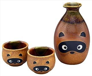 彩堂窯(Saidougama) 徳利 &ぐい呑み セット箱入 瀬戸焼 たぬき 酒器セット E-00173