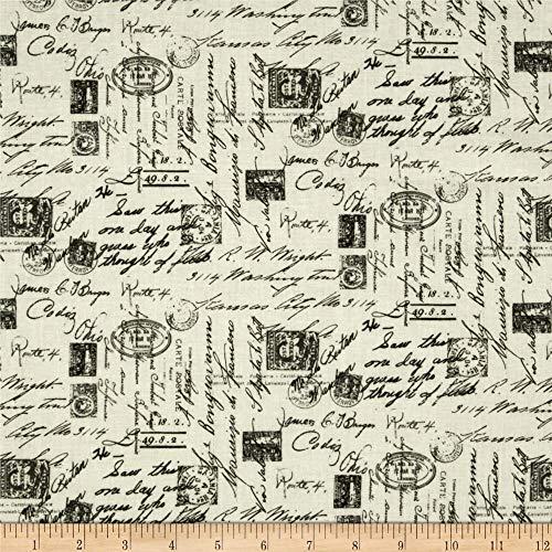 Timeless Treasures Letters from Paris Script, Yard, Cream
