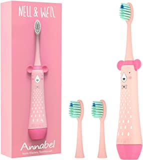 NELL&WELL Kids Sonic Electric Toothbrush with 3 Dupont Nylon Soft Brush Head, 1 AA Battery Powered (Battery not Included),...