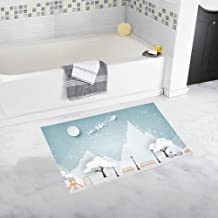 Paper Art Landscape Christmas Happy New Custom Non-Slip Bath Mat Rug Bath Doormat Floor Rug for Bathroom 20 X 32 Inch