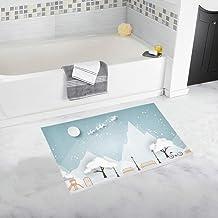 Paper Art Landscape Christmas Happy New Custom Non-Slip Bath Mat Rug Bath Doormat Floor Rug for Bathroom 20 X 32 Inch