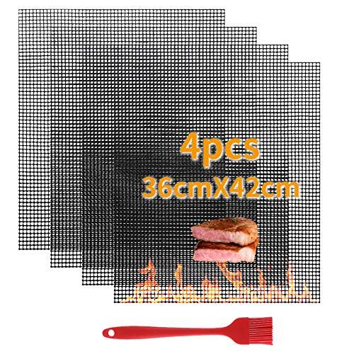 VLVEE BBQ Grillmatte, Gitter Grillmatte (4er Set) - Antihaft Teflon Grillen Mat für Holzkohle, Gasgrill & Backofen spülmaschinenfest (36x42cm)