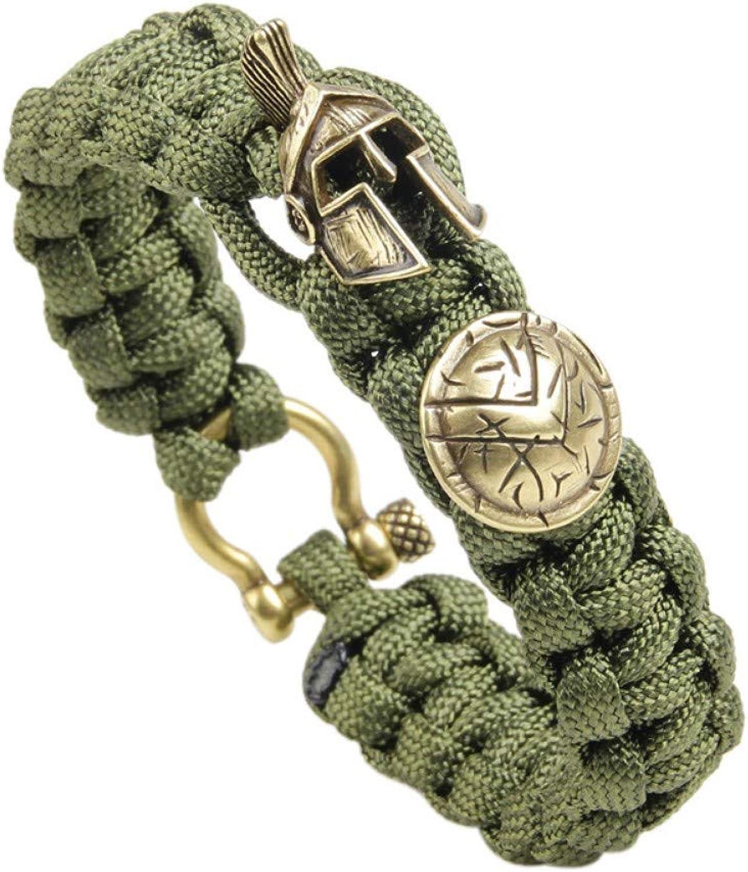 Bracelet Men,Outdoor Light Green Bracelet Men's Umbrella Rope Bracelets Skull Nylon Bracelet,Picture,20Cm