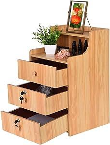 Nightstands, 3 Drawer Tall Nightstand Bedside End Table Storage Tower Bedroom Nightstand Wood Lock Cabinet Open Shelf Nightstands (Yellow)