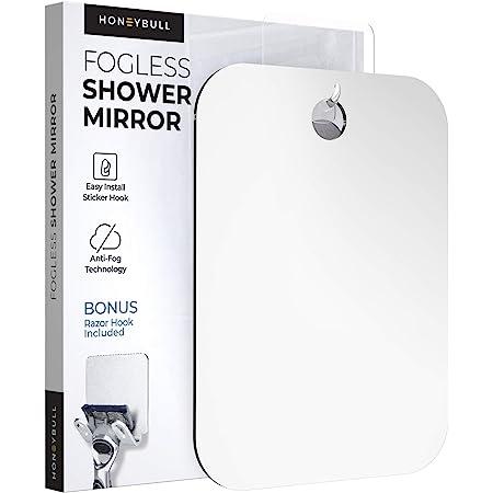 HONEYBULL Shower Mirror Fogless for Shaving - (Large 8x10in) Flat Anti Fog Mirror with Razor Holder for Shower, Mirrors, Shower Accessories, Bathroom Mirror, Bathroom Accessories, Holds Razors For Men
