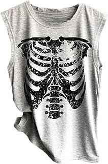 Domple Womens Skull Print Comfy Sleeveless Summer Tee Tank Top Cami Blouse Shirt