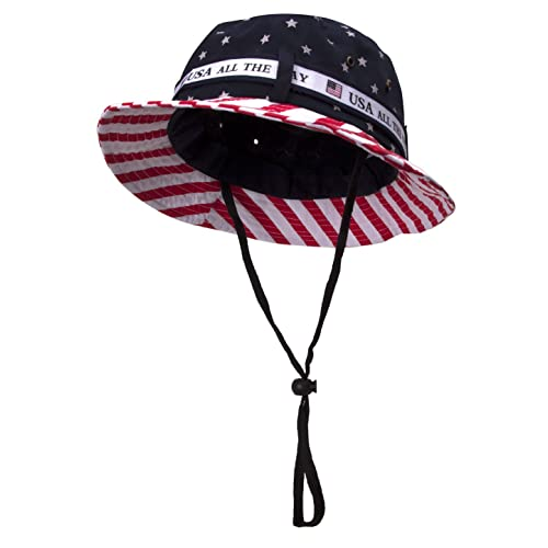 b469c6cd392 TOP HEADWEAR Cotton Twill USA Flag Bucket Hat USA All The Way Boonie