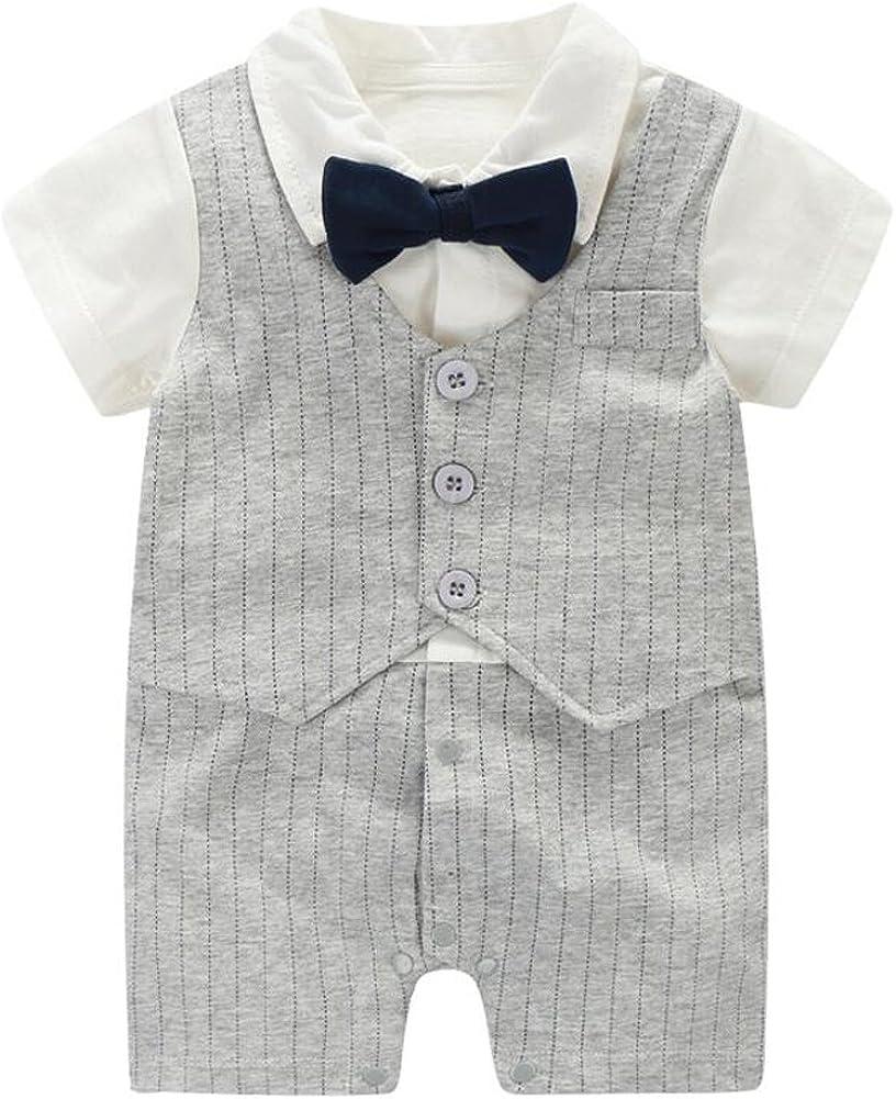 Fairy Baby Summer Baby Boy Gentleman Outfit Formal Bowtie Tuxedo Onesie Short Sleeve Jumpsuit Suit