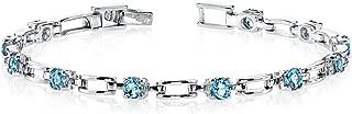 London Blue Topaz Bracelet Sterling Silver Rhodium Nickel Finish 3.00 Carats Chic Design