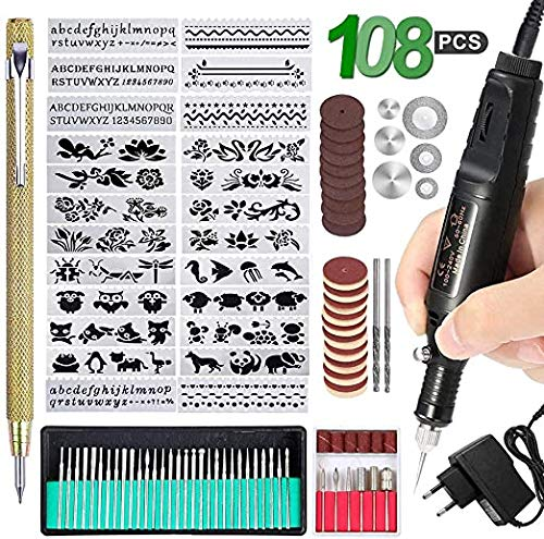 Wuudi 108-teiliges Gravierwerkzeug-Set DIY Drehwerkzeug mit 24 Schablonen und 82 Zubehörteilen geeignet
